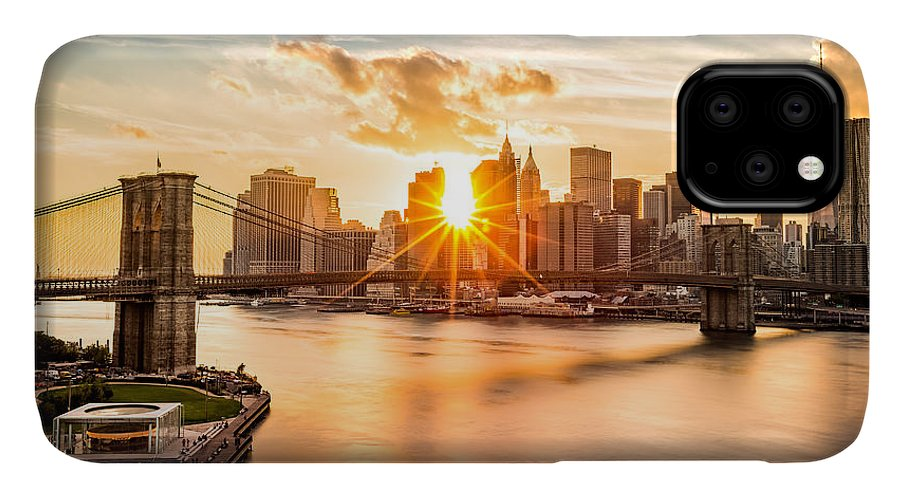 America IPhone 11 Case featuring the photograph Brooklyn Bridge And The Lower Manhattan Skyline At Sunset by Mihai Andritoiu