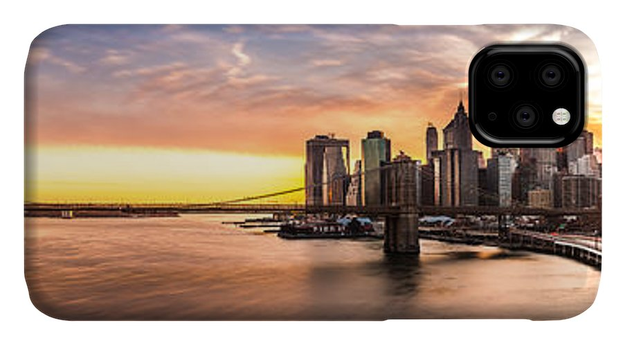 America IPhone Case featuring the photograph Brooklyn Bridge Panorama by Mihai Andritoiu