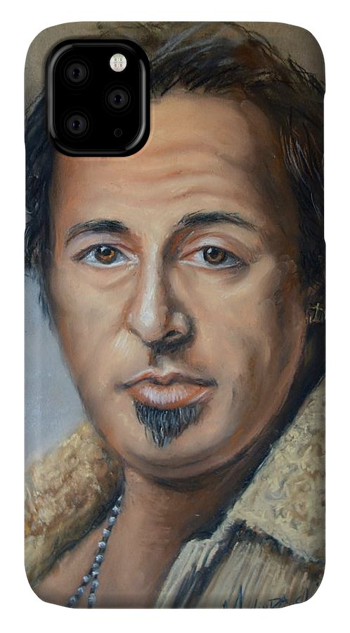 Bruce Springsteen IPhone Case featuring the pastel Bruce Springsteen Portrait by Melinda Saminski