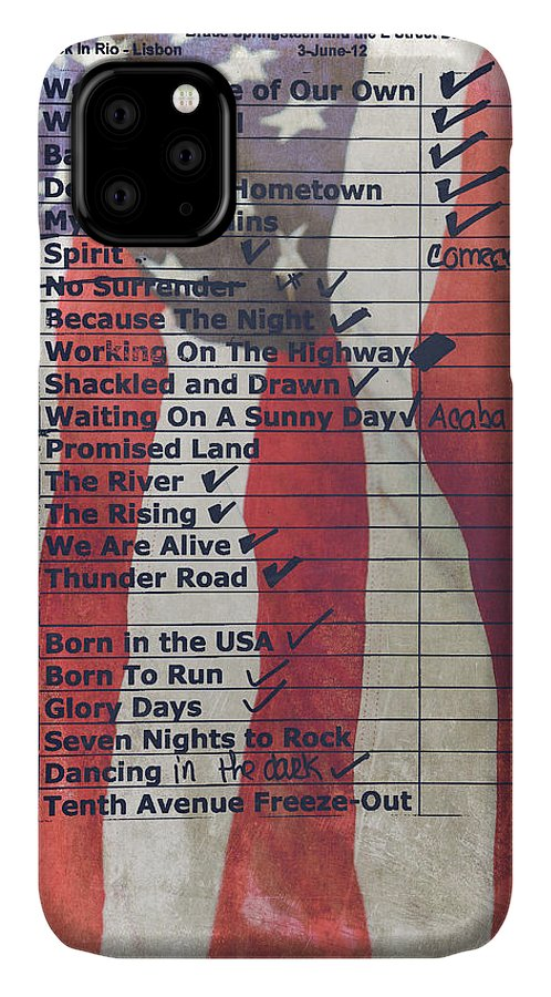 Bruce Springsteen IPhone Case featuring the photograph Bruce Springsteen Setlist at Rock in Rio Lisboa 2012 by Marco Oliveira