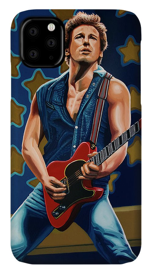Bruce Springsteen IPhone Case featuring the painting Bruce Springsteen The Boss Painting by Paul Meijering