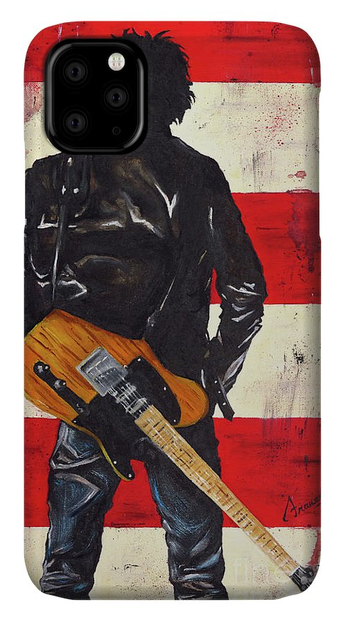 Bruce Springsteen IPhone Case featuring the painting Bruce The Boss Springsteen by Francesca Agostini