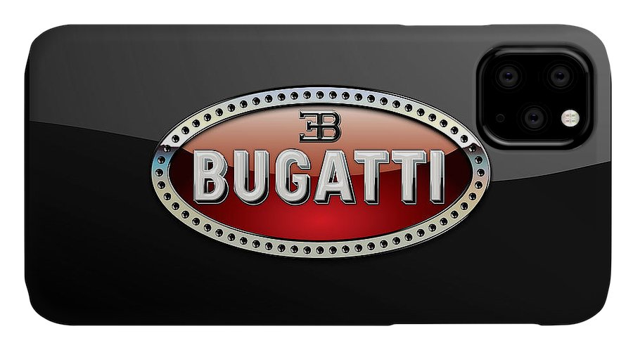 �wheels Of Fortune� Collection By Serge Averbukh IPhone Case featuring the photograph Bugatti - 3 D Badge on Black by Serge Averbukh