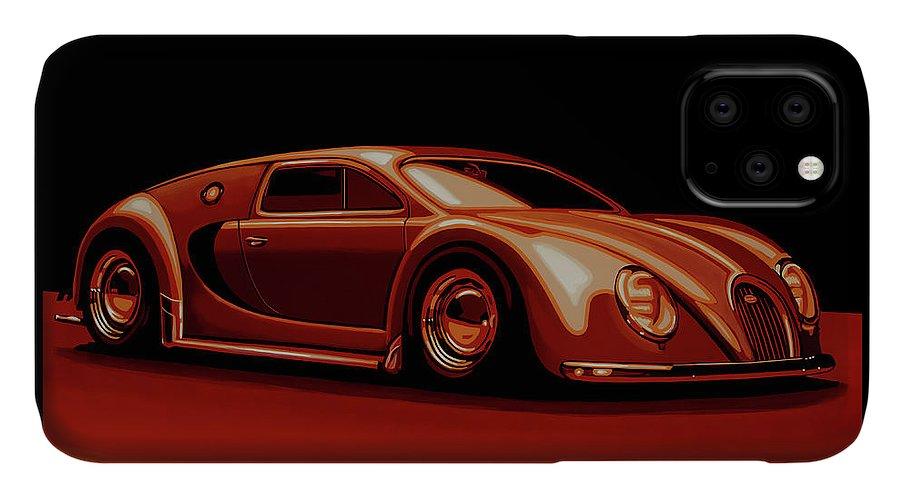 Bugatti Veyron IPhone Case featuring the painting Bugatti Veyron 'beetgatti' 1945 Painting by Paul Meijering