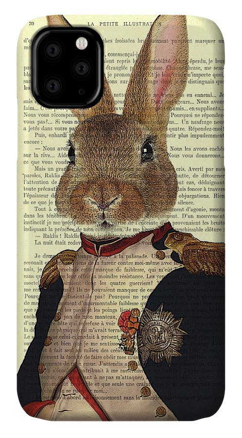 Bunny IPhone Case featuring the digital art Bunny Portrait Illustration by Madame Memento