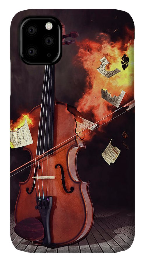 Violin IPhone Case featuring the digital art Burning Violin by Mihaela Pater
