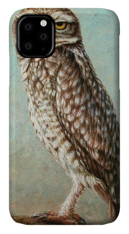 Owl IPhone 11 Case featuring the painting Burrowing Owl by James W Johnson
