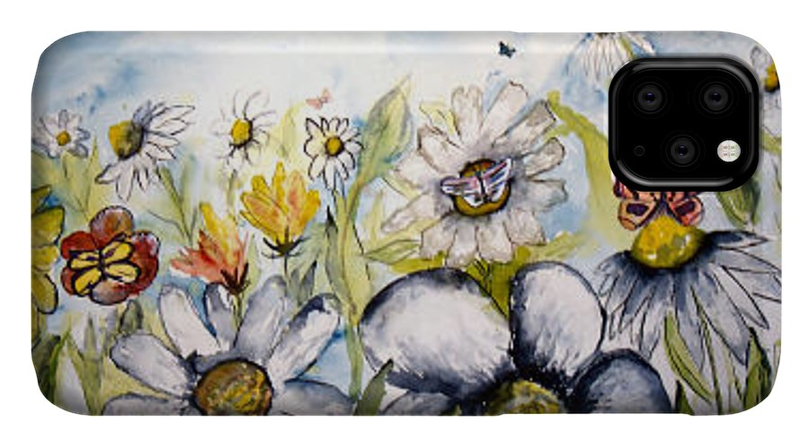 Butterfly IPhone Case featuring the painting Butterflies and Flowers by Derek Mccrea