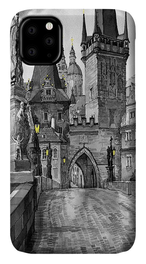 Prague IPhone 11 Case featuring the painting Bw Prague Charles Bridge 02 by Yuriy Shevchuk