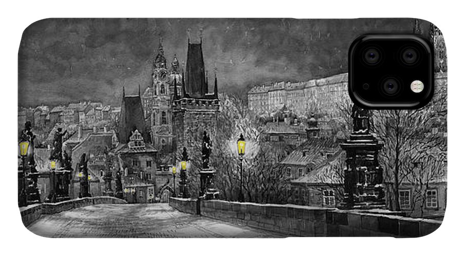 Prague IPhone 11 Case featuring the painting Bw Prague Charles Bridge 06 by Yuriy Shevchuk