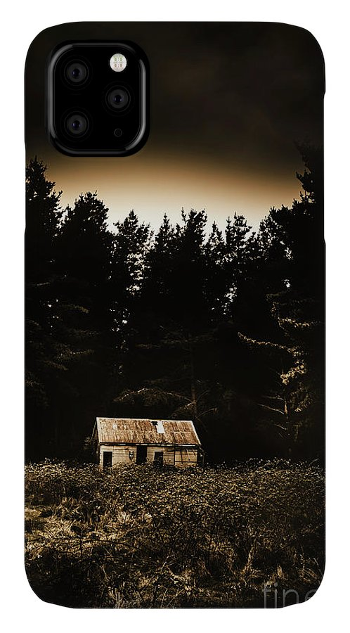 Woods IPhone 11 Case featuring the photograph Cabin In The Woodlands by Jorgo Photography - Wall Art Gallery
