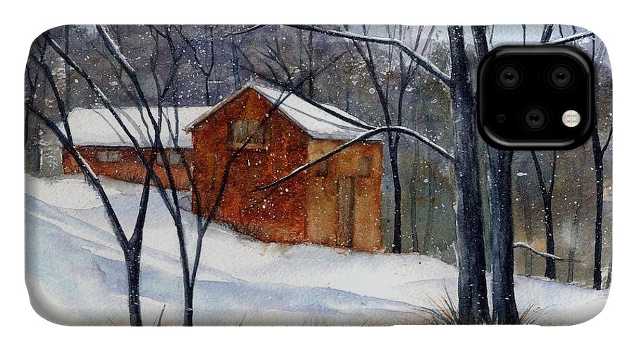 Cabin IPhone 11 Case featuring the painting Cabin In The Woods by Debbie Lewis