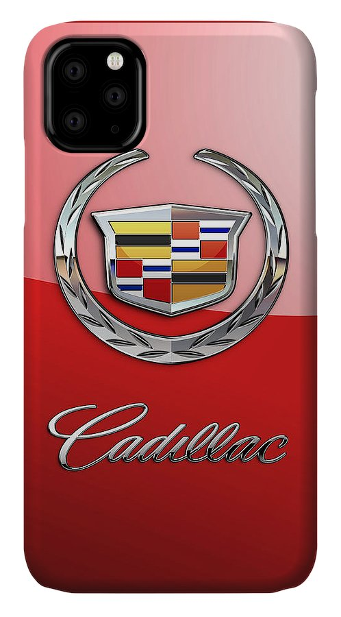 �wheels Of Fortune� Collection By Serge Averbukh IPhone Case featuring the photograph Cadillac - 3 D Badge on Red by Serge Averbukh