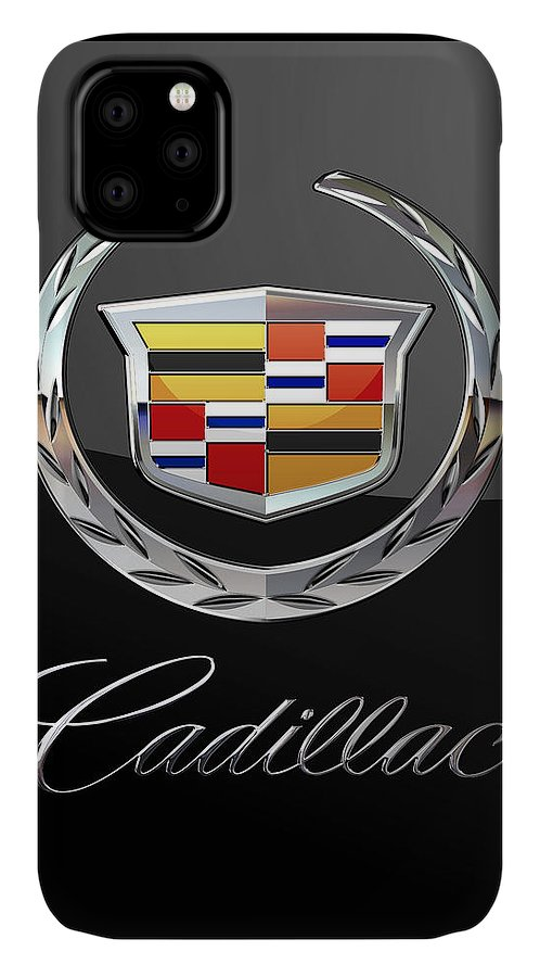 'wheels Of Fortune' By Serge Averbukh IPhone Case featuring the photograph Cadillac - 3 D Badge On Black by Serge Averbukh