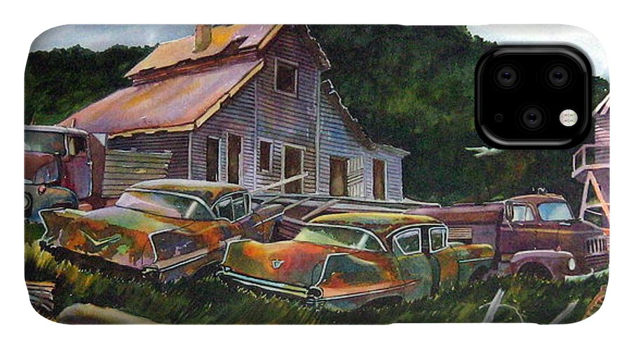 Cadillacs IPhone Case featuring the painting Cadillac Ranch by Ron Morrison