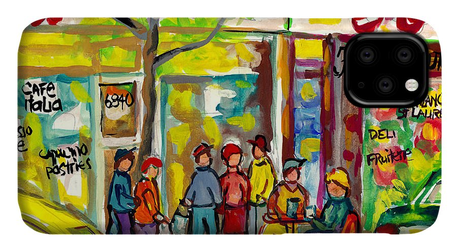 Montreal IPhone Case featuring the painting Caffe Italia And Milano Charcuterie Montreal Watercolor Streetscenes Little Italy Paintings Cspandau by Carole Spandau