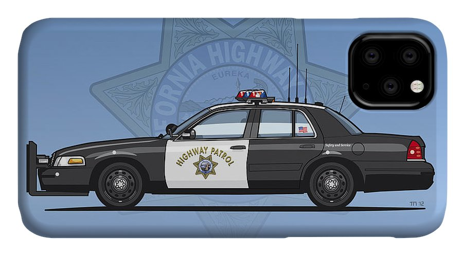 Car IPhone 11 Case featuring the digital art California Highway Patrol Ford Crown Victoria Police Interceptor by Monkey Crisis On Mars
