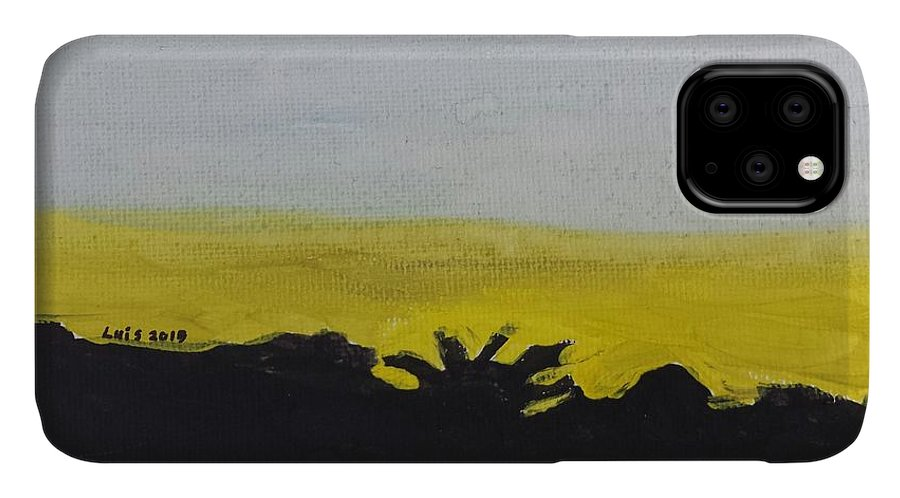 Landscape IPhone Case featuring the painting California Sunset by Epic Luis Art