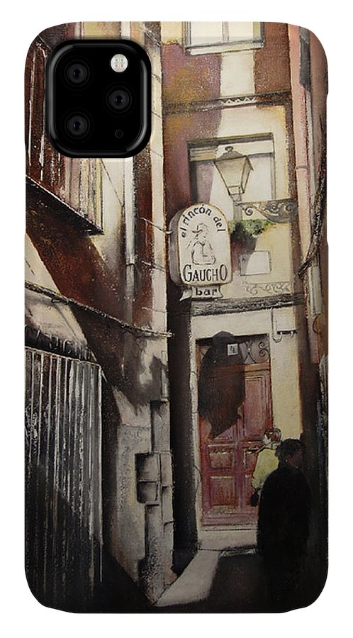 Azabacher�a IPhone Case featuring the painting Calle Azabacheria-Leon by Tomas Castano
