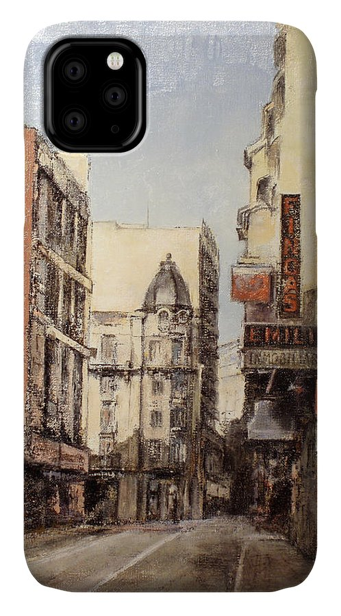 Leon IPhone Case featuring the painting Calle Independencia -Leon by Tomas Castano