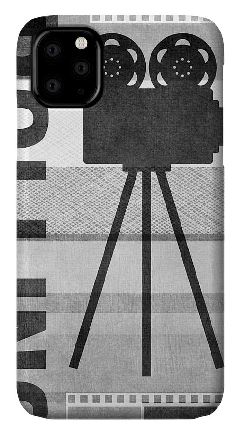 Movie IPhone 11 Case featuring the mixed media Cameras Rolling- Art By Linda Woods by Linda Woods