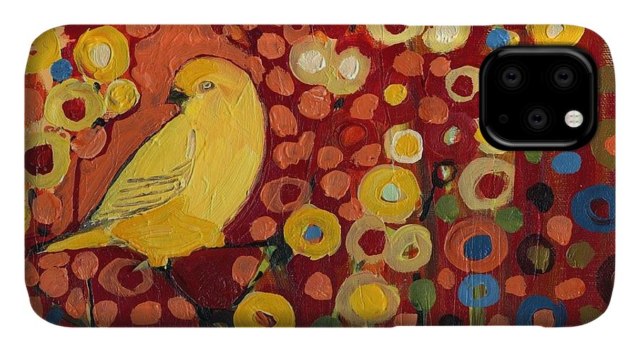 Canary IPhone Case featuring the painting Canary in Red by Jennifer Lommers