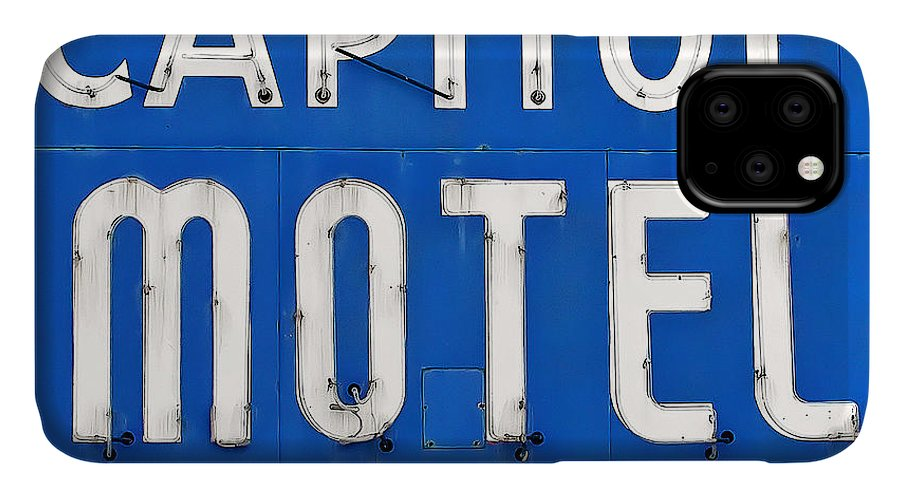 Capitol Motel IPhone Case featuring the photograph Capitol Sign by Todd Klassy