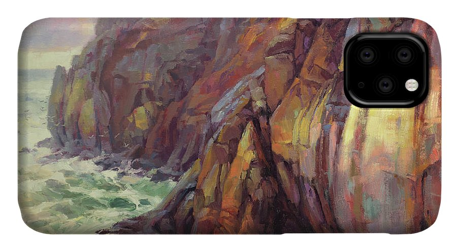 Sea IPhone Case featuring the painting Cascade Head by Steve Henderson