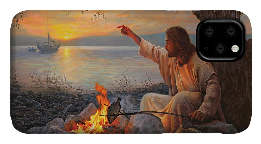 Jesus IPhone 11 Case featuring the painting Cast Your Nets On The Right Side by Greg Olsen