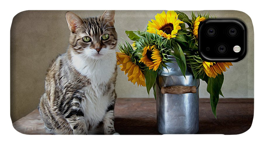 Cat IPhone Case featuring the painting Cat and Sunflowers by Nailia Schwarz