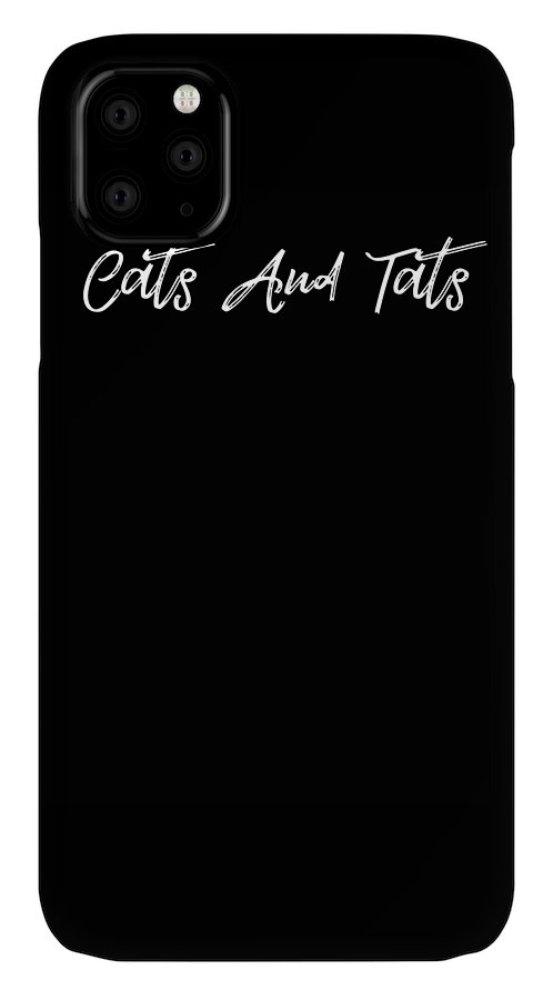 Cat IPhone Case featuring the digital art Cats and Tats funny tatoo by Kaylin Watchorn