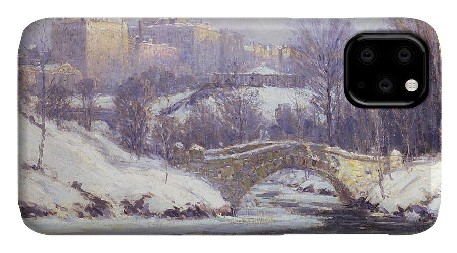 Winter IPhone 11 Case featuring the painting Central Park by Colin Campbell Cooper