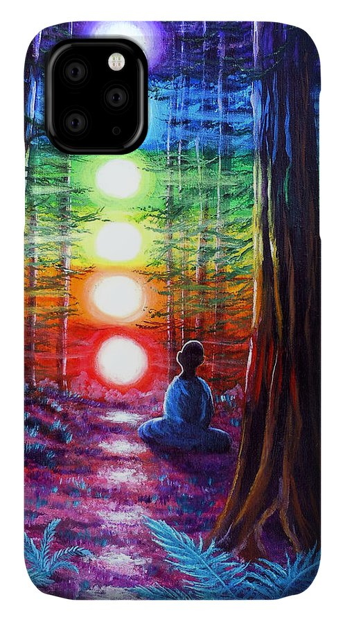 Zen IPhone Case featuring the painting Chakra Meditation In The Redwoods by Laura Iverson