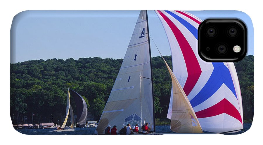 Sailboat IPhone Case featuring the photograph Champs - Lake Geneva Wisconsin by Bruce Thompson