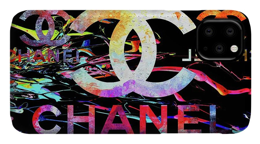Chanel Black IPhone Case featuring the mixed media Chanel Black by Daniel Janda