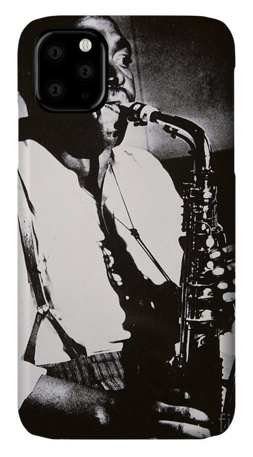 Male; Half Length; Saxophone; Musician; Musical; Instrument; Music; Black; Negro; African American; African-american; Portrait; Jazz; Saxophonist; Braces; Composer; Nickname Yardbird; Bird; Virtuoso; Suspenders; Entertainment IPhone Case featuring the photograph Charlie Parker by American School