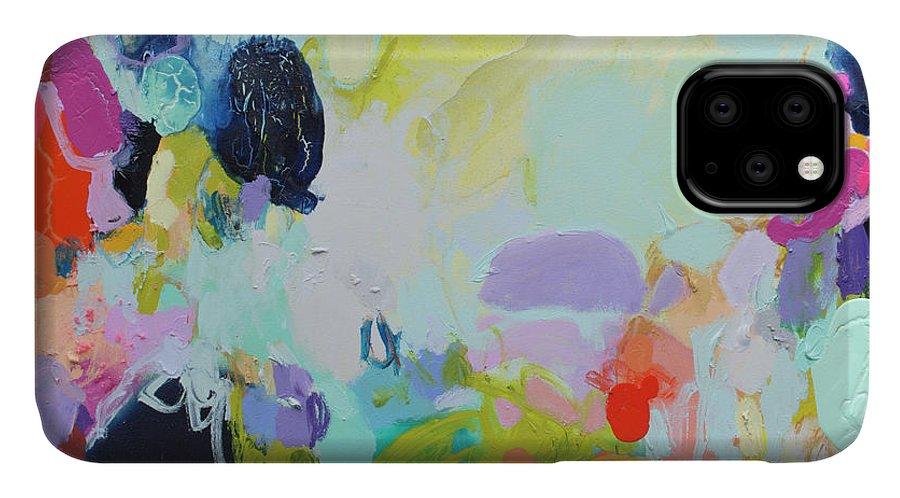 Abstract IPhone 11 Case featuring the painting Chartreuse Stop by Claire Desjardins