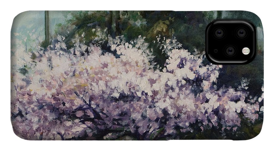 Trees IPhone 11 Case featuring the painting Cherry Blossoms by Rick Nederlof