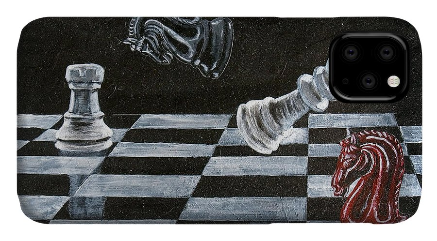 Chess IPhone 11 Case featuring the painting Chess by Richard Le Page
