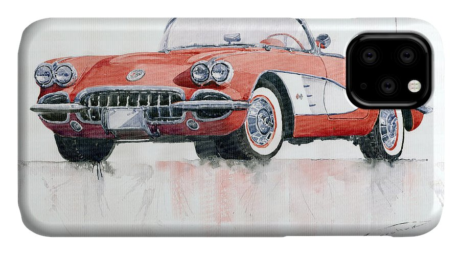 Watercolor IPhone Case featuring the painting Chevrolet Corvette C1 1960 by Yuriy Shevchuk