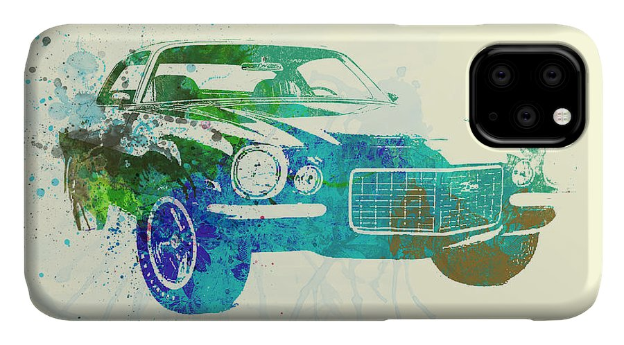 Chevy Camaro IPhone Case featuring the painting Chevy Camaro Watercolor by Naxart Studio