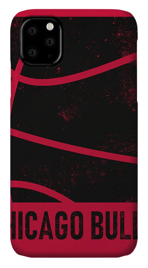 Bulls IPhone 11 Case featuring the mixed media Chicago Bulls City Poster Art 2 by Joe Hamilton