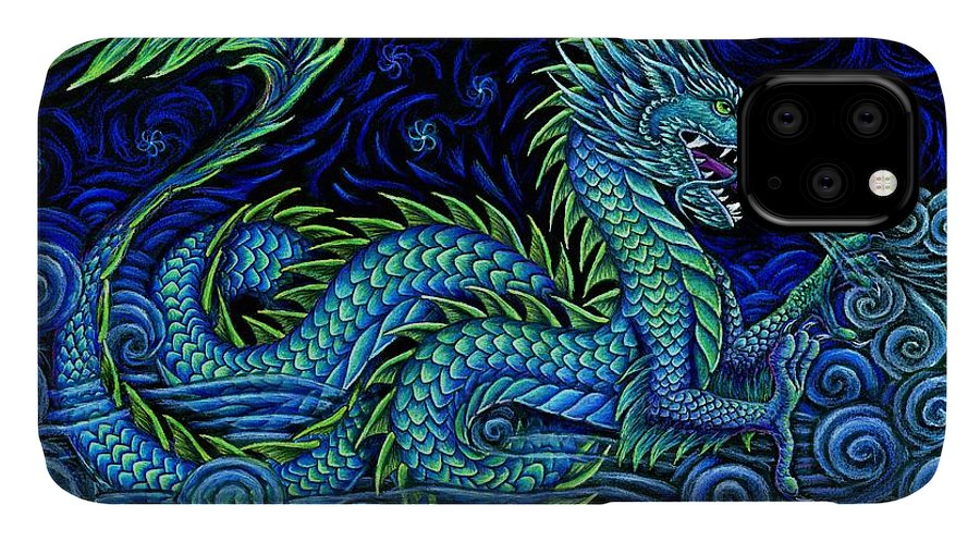 Chinese Dragon IPhone 11 Case featuring the drawing Chinese Azure Dragon by Rebecca Wang