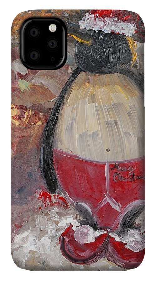 Penguin IPhone Case featuring the painting Christmas Penguin by Nadine Rippelmeyer