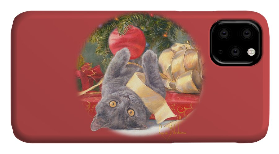 Cat IPhone Case featuring the painting Christmas Surprise by Lucie Bilodeau