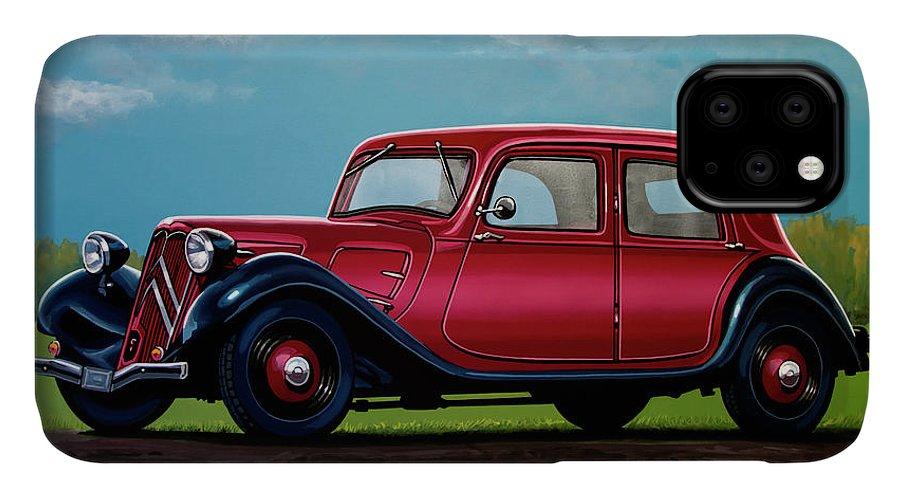 Citroen Traction Avant IPhone 11 Case featuring the painting Citroen Traction Avant 1934 Painting by Paul Meijering