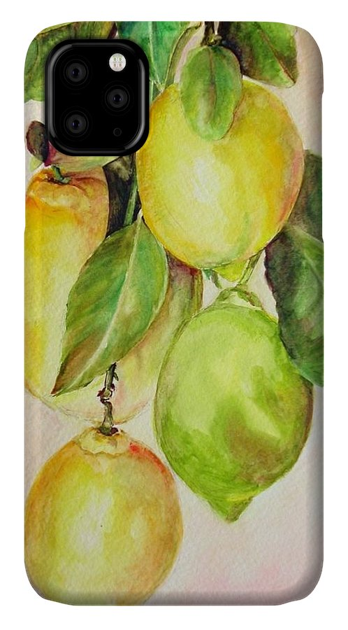 Still Life IPhone Case featuring the painting Citrons by Muriel Dolemieux
