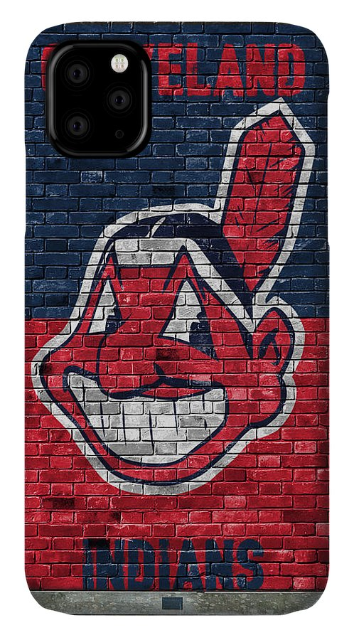 Indians IPhone Case featuring the painting Cleveland Indians Brick Wall by Joe Hamilton