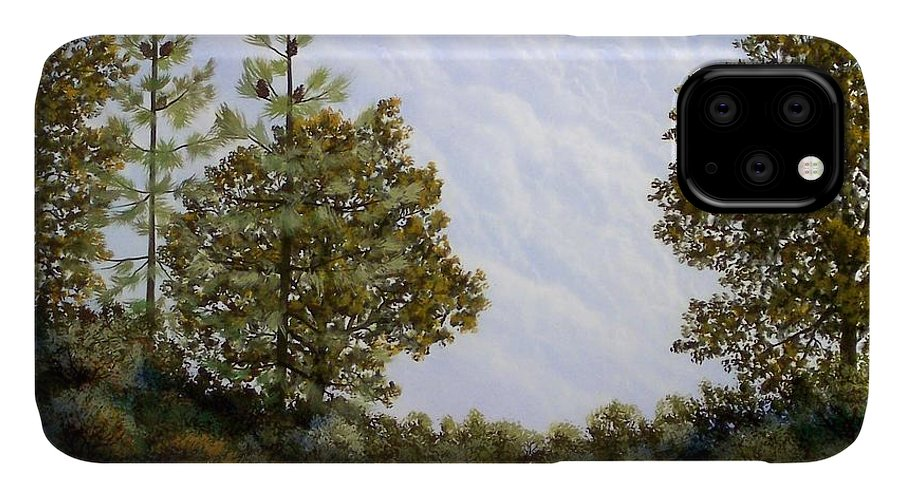 Landscape IPhone Case featuring the painting Clouds In Foothills by Frank Wilson