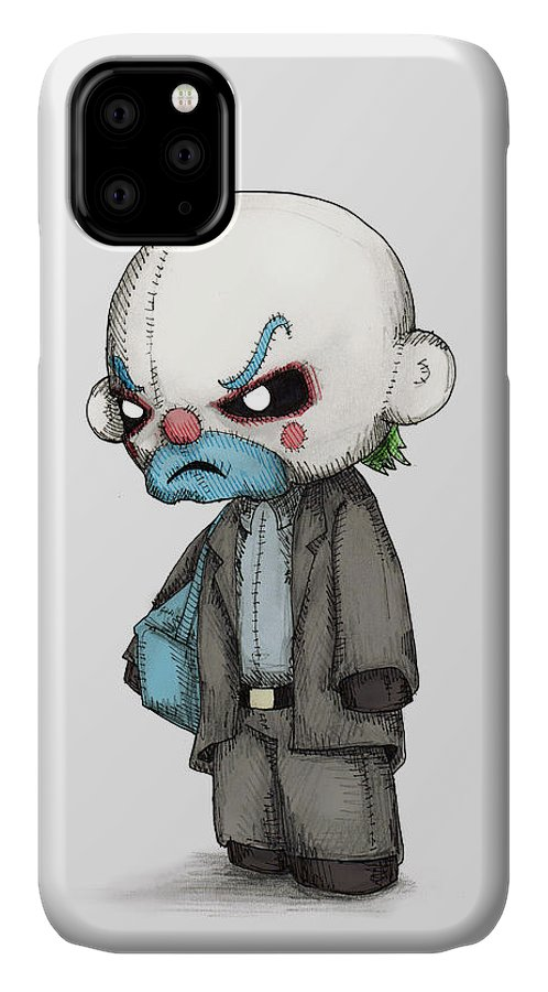 Bank IPhone Case featuring the drawing Clown Bank Robber Plush by Ludwig Van Bacon